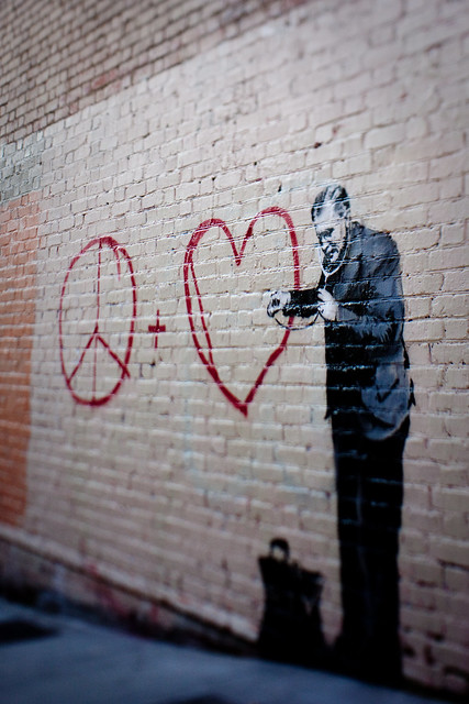 Banksy in SF: peace and love