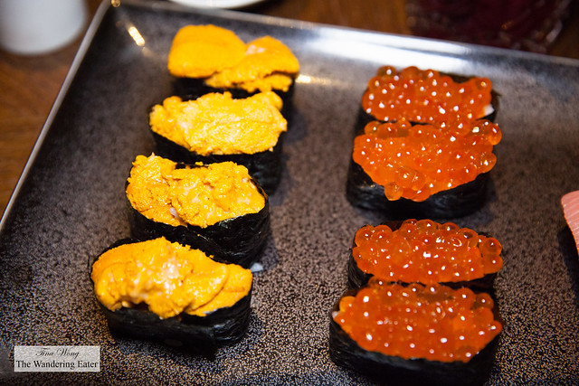 Uni (Sea urchin) and ikura (salmon egg roe) sushi