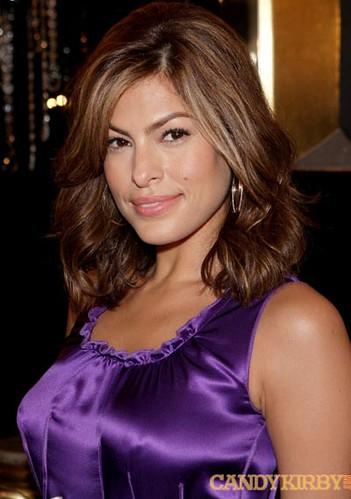 902851b41451 Eva Mendes in a Purple Dress at the Dolce   Gabbana VIP Room at Milan  Fashion