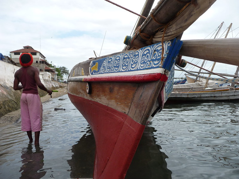 Mohamed paints his dhow