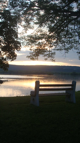 sunset mountain river bench