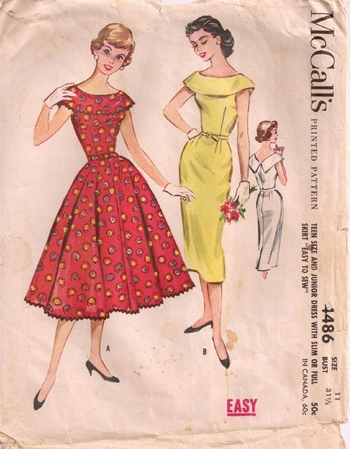 6819b0f8385 ... Vintage sewing pattern  1950s rockabilly dress with full or pencil  skirt