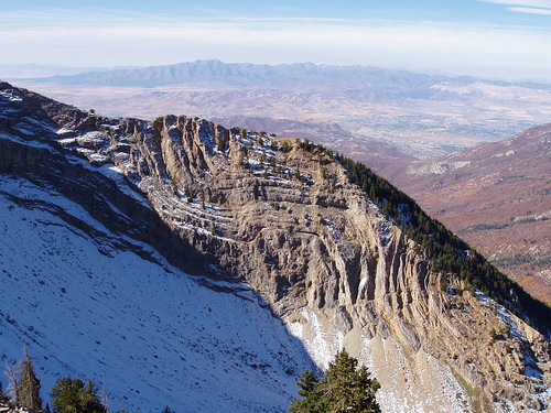 Limestone bending on the side of the north bowl of Box Elder Peak.