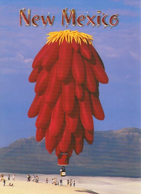 New Mexico Chili Pepper Hot Air Balloon Postcard