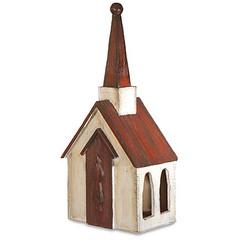 CS7796 - Red Roof Wooden Birdhouse