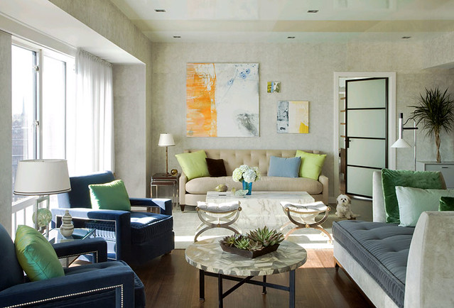Frank Roop: Vintage modern mix: Blue + brown living room | Flickr
