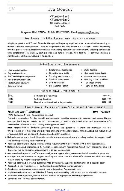 Recruitment Admin Cv And Resume Template Cvs And Resumes