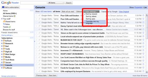 Google Translate inside Google Reader