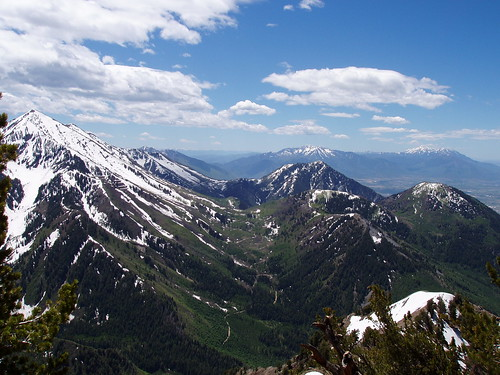 View from the side of Cascade Mountain, from left to right: (foreground) Provo Peak, Buckley Mountain, Y Mountain; (background) Spanish Fork Peak, Santaquin Peak, Mount Nebo