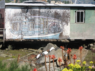 Mural of the Charles Van Damme Ferryboat, painted by local resident Kathleen Roberts