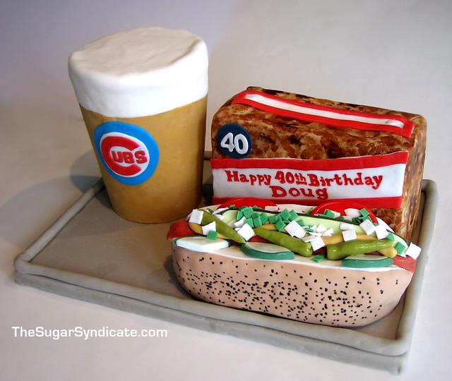 Cubs Baseball Hot Dog Birthday Cake