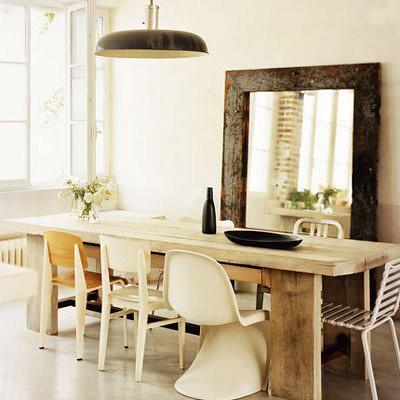 Rustic, eclectic Paris loft: White dining room + oversized ...