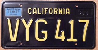 CALIFORNIA 1967 LICENSE PLATE