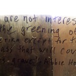 Abby Hoffman quote in abandoned army barracks