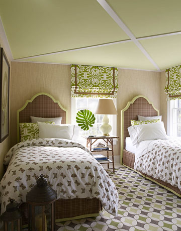 Green + white bedroom: Ikat + butterfly print + 'Wales Green' by Benjamin Moore