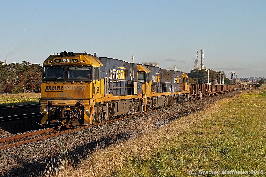 NR52-NR116-NR102 with 4PM4 up PN steel goods from Perth to Melbourne at Corio (21/6/2015) by Bradley Matthews