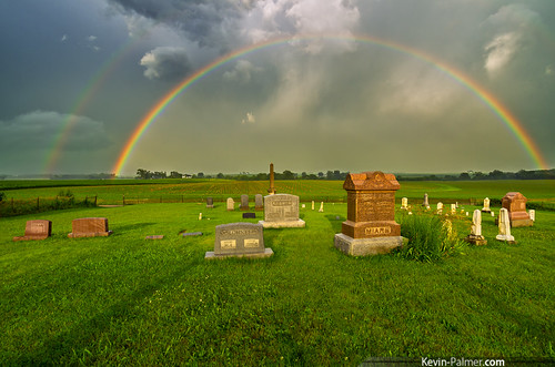 summer sunlight storm green cemetery grass sunshine rain june evening illinois rainbow stormy double graves dillon thunderstorm tombstones gravestones kevinpalmer pentaxk5 samyang10mmf28