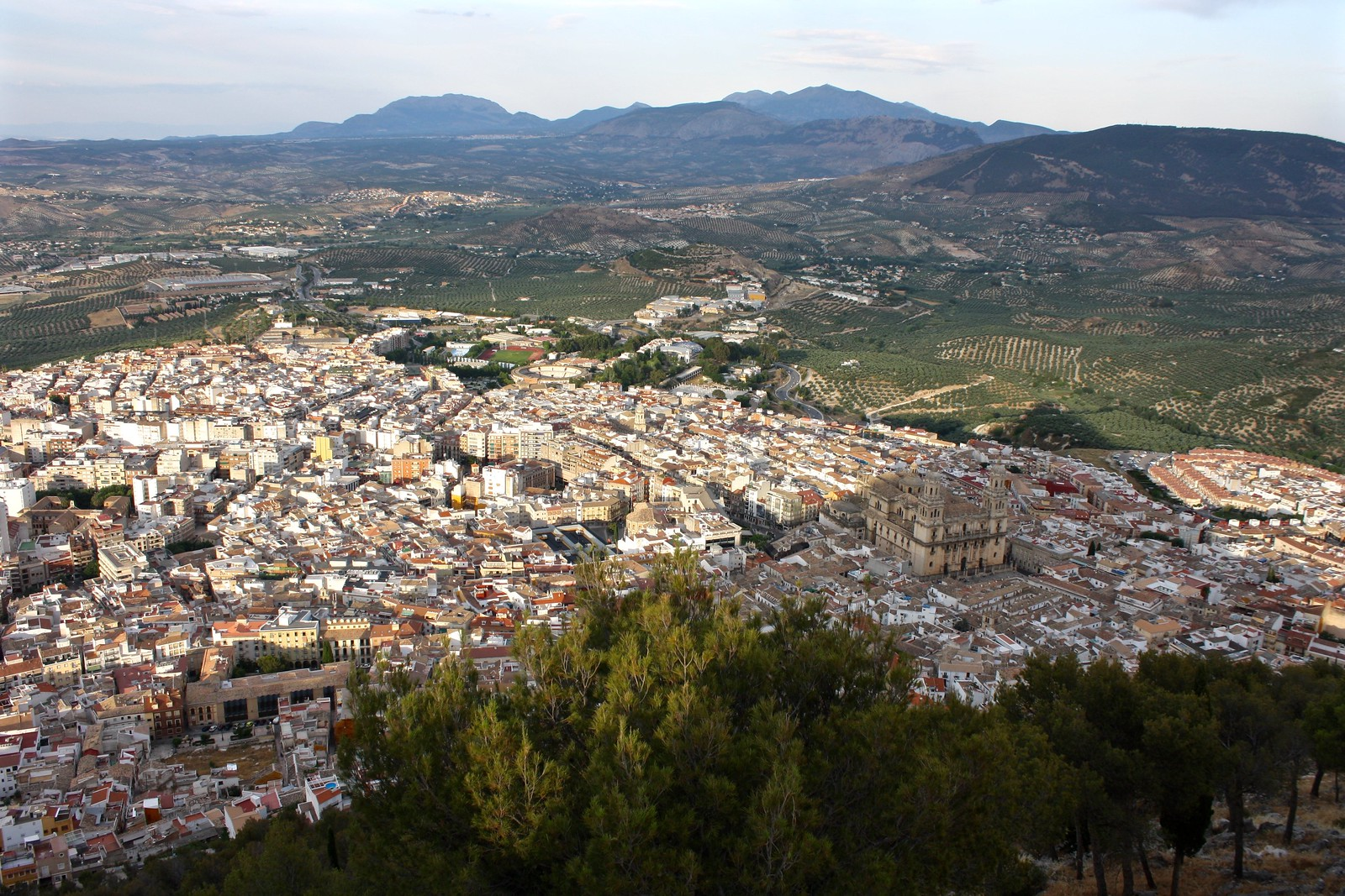 Panoramic view of Jaén, Spain, at sunset