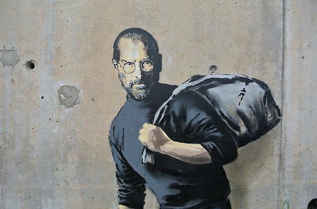 Steve Jobs at Sangatte by #Banksy @Apple