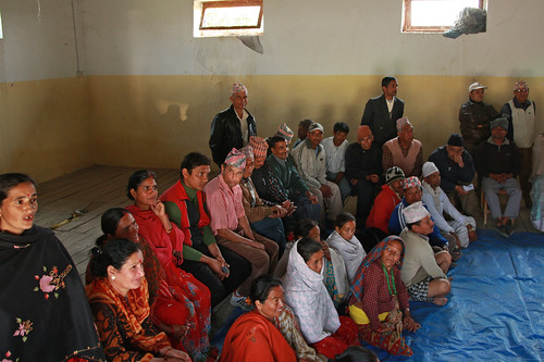 Community at discussion of water supply and sanitation   by World Bank Photo Collection