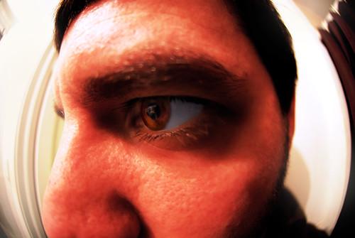 portrait selfportrait eye me up self lens close distorted contest rental wideangle fisheye eyeball winner 365 pores distort d60 365days nikond60 photodoto 365project personalbubble borrowlensescom nikkor105mmf28gfisheyeafdx