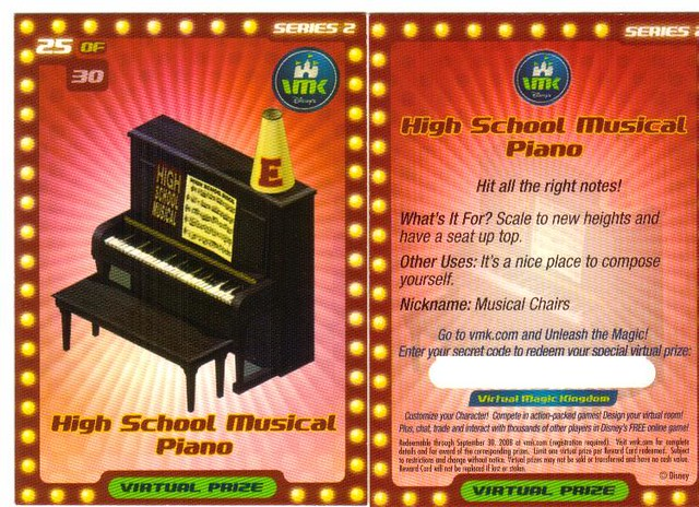 8/34 VMK High School Musical Quest Reward Card | Disney's Vi