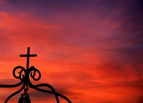 blue sunset sky orange colors silhouette iron cross sony deep minimalism alpha dslr abigfave