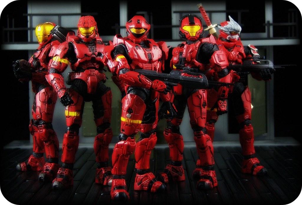 McFarlane Halo 3 - Red Spartans [EVA, Mark VI, Recon, CQB