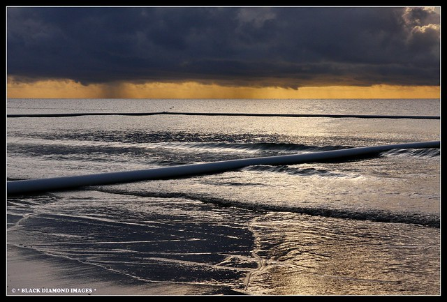 Mission Beach - Storm over Stinger Net at Sunrise