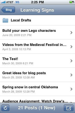 Interface for WordPress for iPhone Application