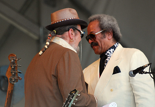 Meeting of the masters: Dr. John and Allen Toussaint during the Voice of the Wetlands show at Jazz Fest 2010. Photo by WWOZ.