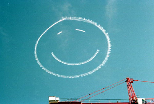 Smiley face written in the sky during the inauguration of Governor Bob Martinez | by State Library and Archives of Florida