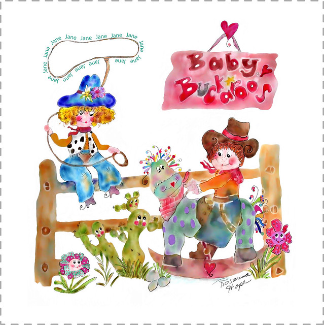 Baby Buckaroos plush personalized baby blanket by Rosanna Hope for BAbybonbonbs