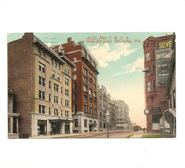Vintage Postcard, YMCA and Hotel Maryland, Milwaukee, Wisc