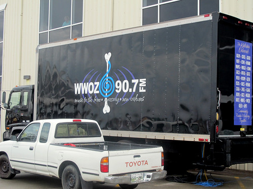 Always on the scene... the WWOZ Broadcast Truck at Gulf Aid