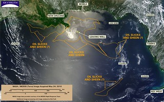 Deepwater Horizon Oil Spill – MODIS/Terra Detail (with interpretation), May 24, 2010