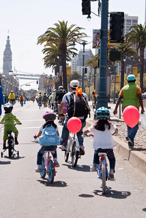 05871 Sisters with balloons trail dad | by sfbike