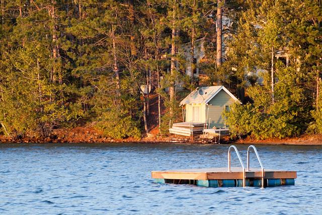 Lake, house at Sunset