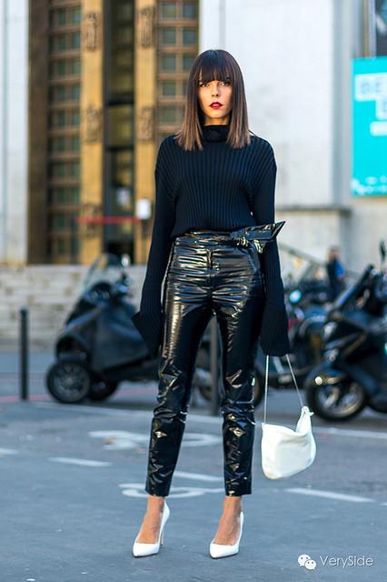 Evangelie Smyrniotaki in vinyl pants