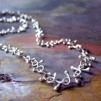 Vines and berries sterling necklace