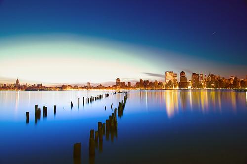 nyc newyorkcity longexposure newyork reflection silhouette night sunrise geotagged dawn newjersey jerseycity bravo venus esb planet hudsonriver empirestatebuilding hdr startrail mudpig stevekelley