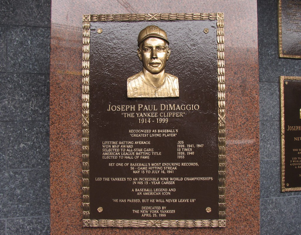 The Joe DiMaggio plaque in Monument Park at Yankee Stadium… | Flickr