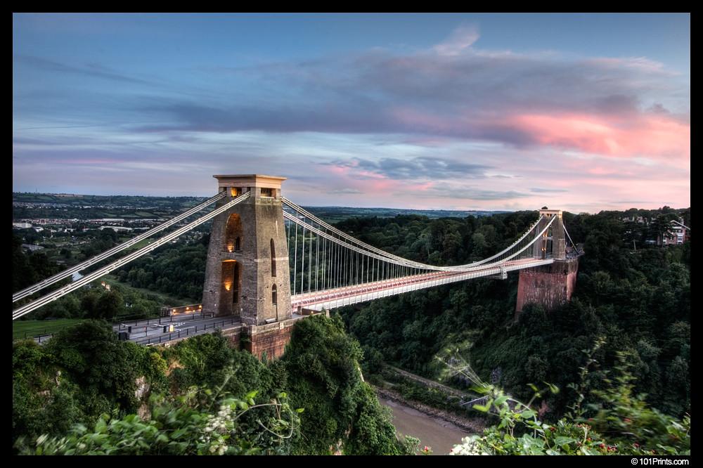Bristol's Clifton suspension bridge at dusk by hantastico
