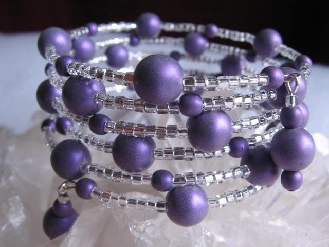 Memory Wire Bracelet - Purple Satin Ball