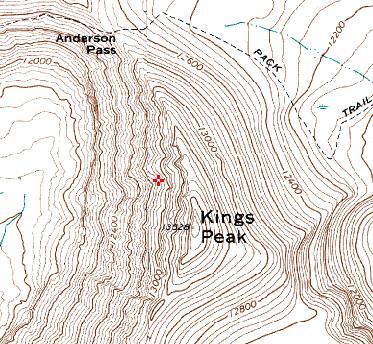 Kings Peak, as it appears on the 7.5' quad