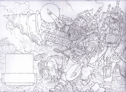 Steampunk Mutants - Russian mutant soldiers spill out of a steampunk tunneling device. Genetically mutated they have mechanical implants for extra fun and mayhem. | by widdershins3