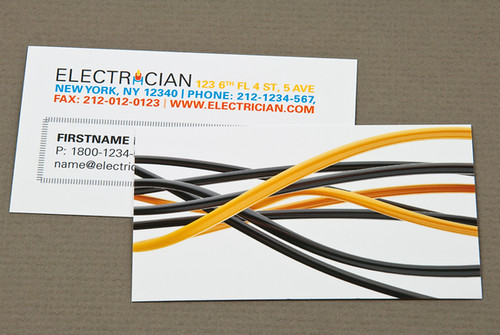 Electrician Business Card with Black Wires | Electrician Bus ... on