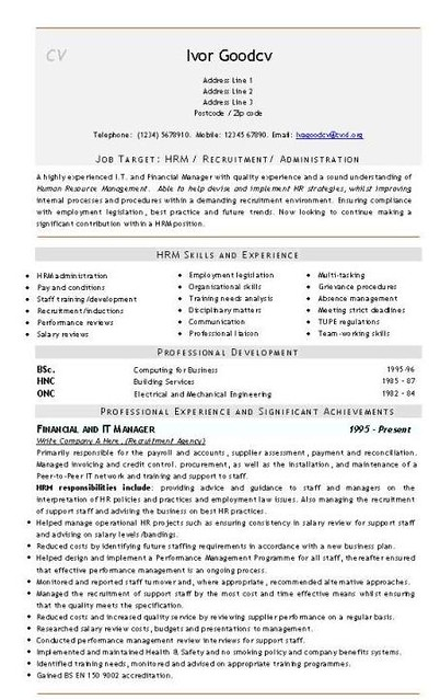 hr administration  it finance cv template