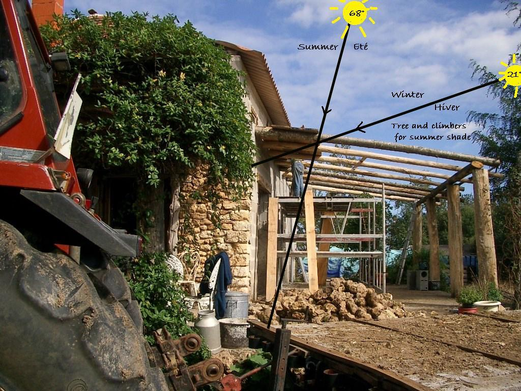 Building the terrace for optimum solar gain in winter