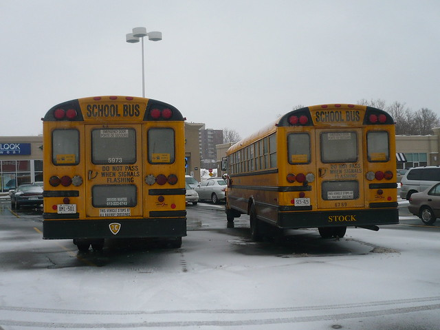 A pair of school buses (International 3300 school bus chassis).